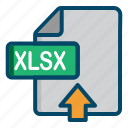 document, excel, file, upload, xlsx icon
