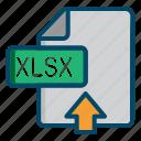 document, excel, file, upload, xlsx icon