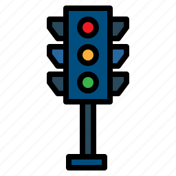 buildings, business, lights, signaling, trafic light, transportation icon