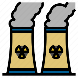 buildings, chimney, cooling, landscape, nuclear, plant icon