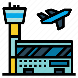 air, airport, building, control, traffic, transportation, travel icon