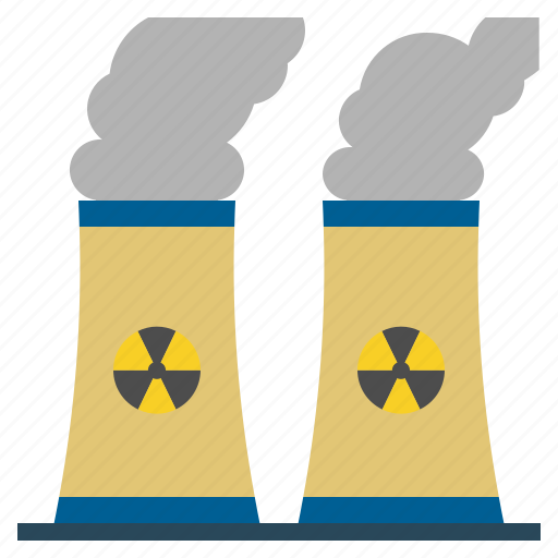 buildings, chimney, cooling, landscape, nature, nuclear icon