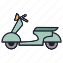 moped, motor bicycle, motorbike, motorcycle, urban transport, vehicle, vespa icon
