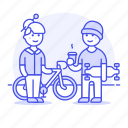 bicycle, bike, chat, coffee, cyclist, friends, skateboard, skater, small, street, tribes, urban