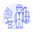 1, building, city, dog, leash, male, outdoors, park, pet, street, tree, tribes, urban, vest, walker, walking icon