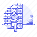 2, brick, female, gang, leaning, on, rebel, skinheads, tribes, troublemaker, urban, wall icon
