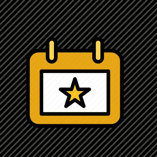 calendar, star icon