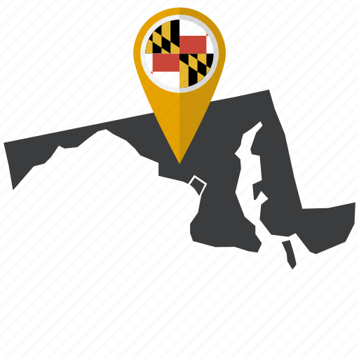 america, map, maryland, navigation, state, us icon