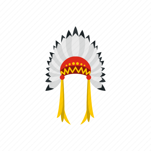 american, chief, feather, head, indian, merindian, warrior icon
