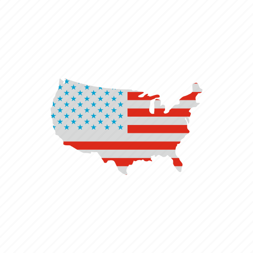 american, country, flag, geographic, independence, map, usa icon