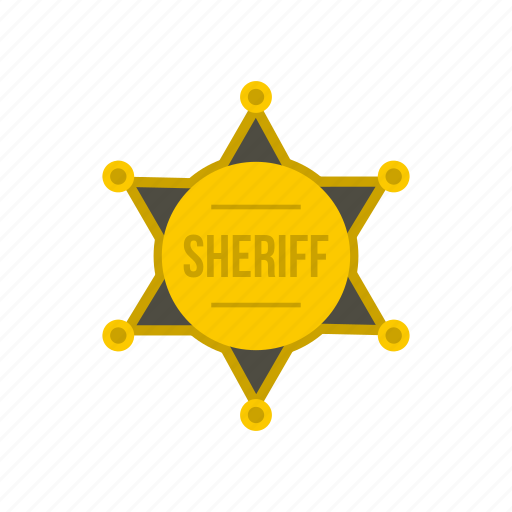 authority, badge, gold, justice, sheriff, star, west icon