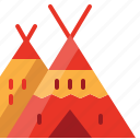 american, camp, camping, indian, red, tent, usa icon