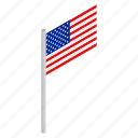 american, flag, isometric, national, patriotism, star, usa icon