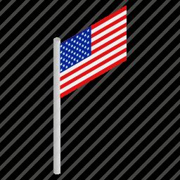 american, flag, isometric, national, patriotism, star, usa icon