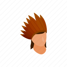 american, feather, hat, indian, isometric, native, roach icon