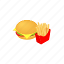 isometric, sandwich, hamburger, meat, food, fries, burger