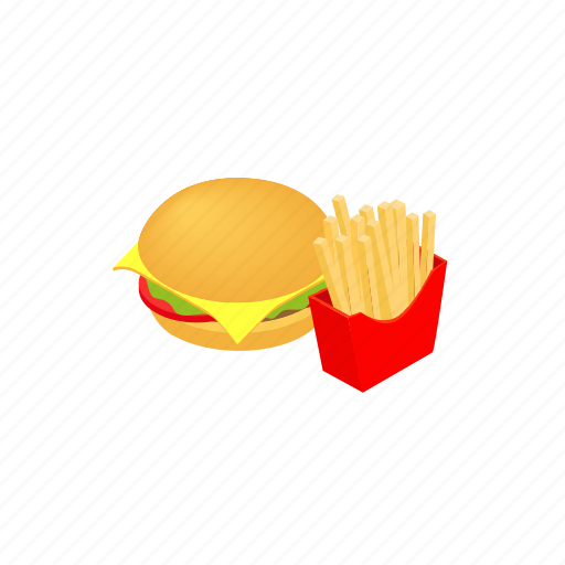 burger, food, fries, hamburger, isometric, meat, sandwich icon