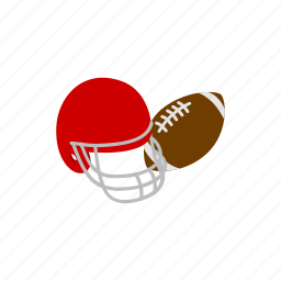american, ball, football, helmet, isometric, rugby, sport icon