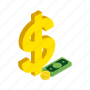 american, banking, cash, currency, dollar, isometric, money icon