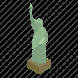 america, freedom, isometric, liberty, monument, statue, usa icon