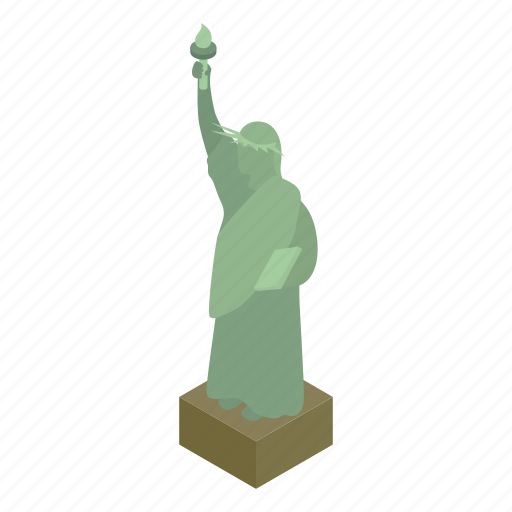 america, freedom, isometric, liberty, monument, statue, usa icon