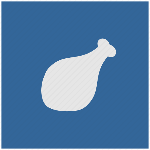 blue, chicken, deep, food, meat, square icon