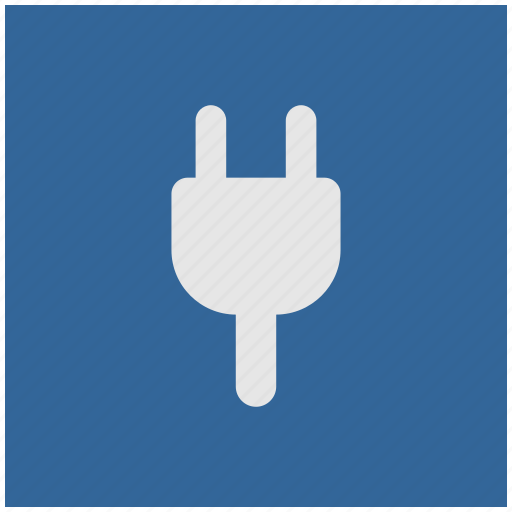 blue, deep, electrical, electricity, plug, square icon