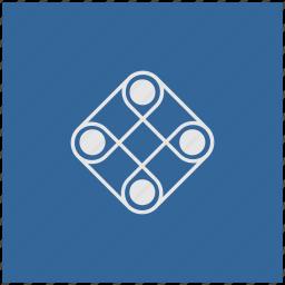 blue, deep, game, logic, play, square icon