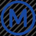 label, m, metro, metropolitan, round, sign, transport