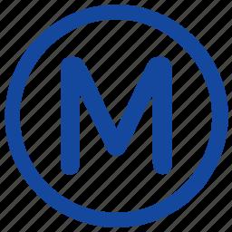 label, m, metro, metropolitan, round, sign, transport icon