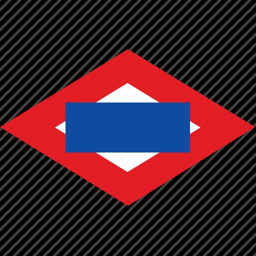 madrid, metro, rombus, sign, transport, underground icon