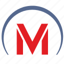 m, metro, metropolitan, sign, transport, tunnel icon