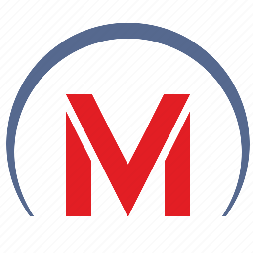 m, metro, metropolitan, sign, transport, tunnel icon