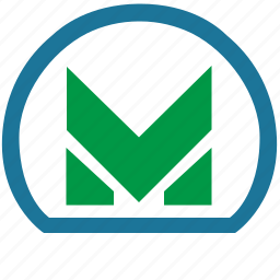 label, m, metro, metropolitan, transport icon