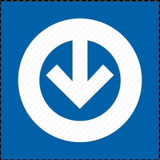 arrow, bottom, down, metro, metropolitan, round, underground icon