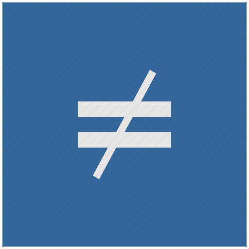blue, deep, equal, function, math, not, square icon