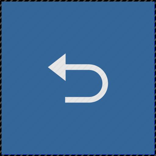 back, blue, deep, return, square icon