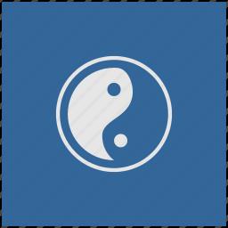 blue, deep, religion, square, yang, yin icon