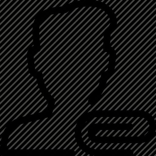 attach, attachment, paperclip, person, user icon