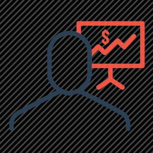 analysis, businessman, dollar, employee, finance, graph, statics icon