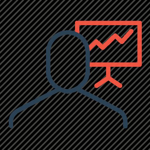 analysis, board, businessman, display, employee, presentation, statics icon
