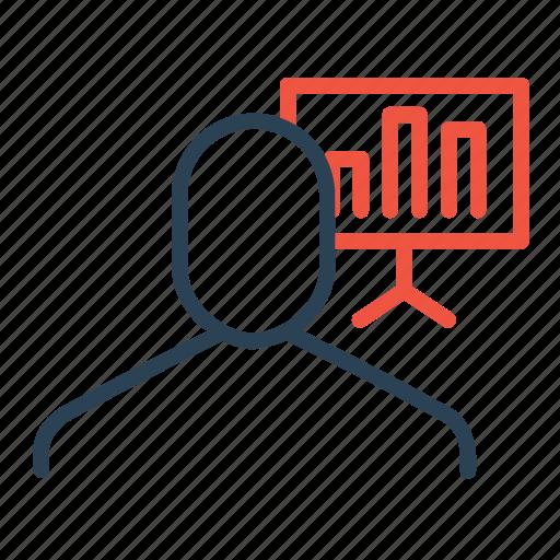 businessman, chart, column, employee, graph, presentation, statics icon