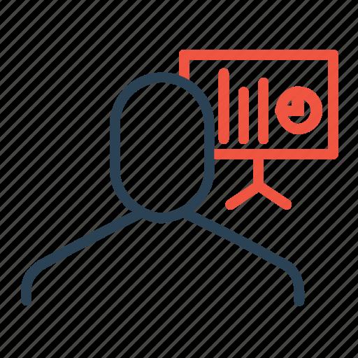 chart, column, employee, graph, pie, presentation, statics icon
