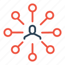 center, connection, hierarchy, link, man, node, user icon