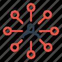 center, connection, hierarchy, link, man, node, user