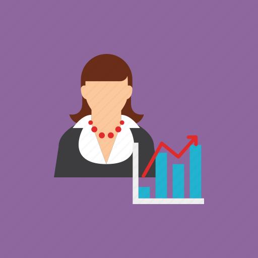 account, chart, presentation, user, women icon