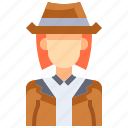 avatar, detective, female, people, person, user, woman icon