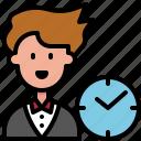 business, clock, man, time, user, work, worker
