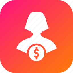 avatar, currency, dollar, female, finance, money, user icon