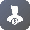 avatar, currency, dollar, finance, male, money, user icon